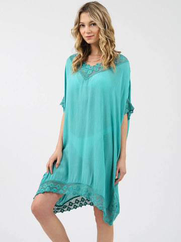 Koy Resort Miami Crochet Trim Kaftan Ocean Breeze