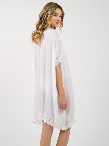 Koy Resort Miami Crochet Trim Kaftan White