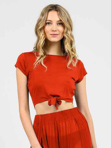 Laguna Tie Knot Top In Terra