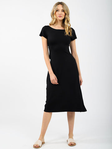 Koy Resort Laguna Twist Back Midi Dress Black