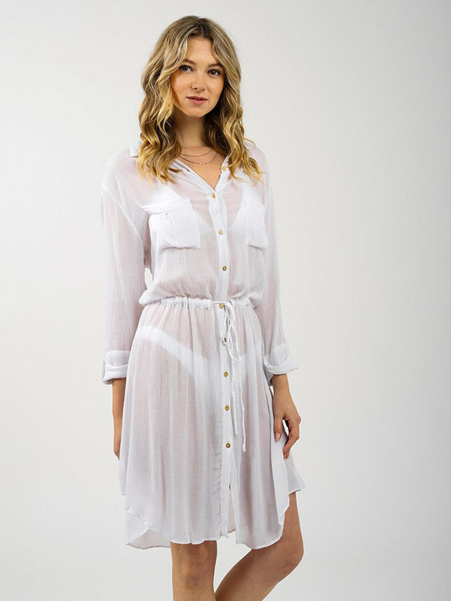 Koy Resort Miami Drawstring Shirt Dress In White