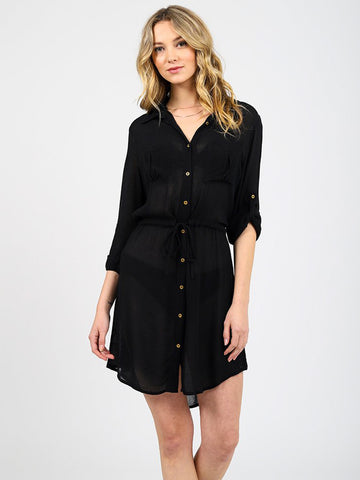 Koy Resort Miami Drawstring Shirt Dress Black