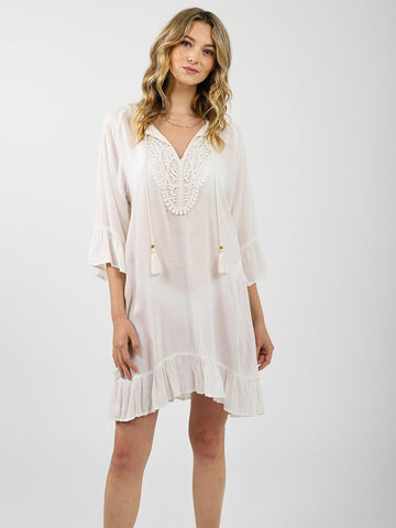 Koy Resort Paradise Ruffled Tunic Dress Cream