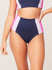 L*Space Color Block Portia Girl Bottom Midnight/Lilac, view 1, click to see full size