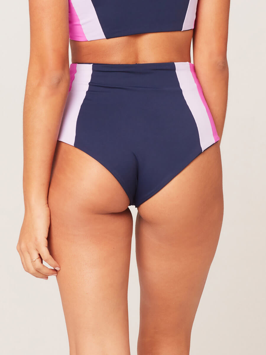 L*Space Color Block Portia Girl Bottom Midnight/Lilac