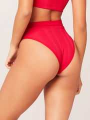 L*Space Pointelle Rib Frenchi Bottom in Lipstick Red, view 2, click to see full size
