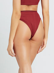 L*Space Pointelle Rib Frenchi Bottom in Sangria, view 2, click to see full size
