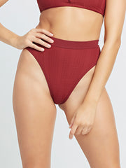 L*Space Pointelle Rib Frenchi Bottom in Sangria, view 1, click to see full size