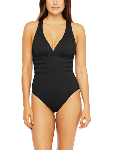 La Blanca Island Goddess Crossback One Piece Black