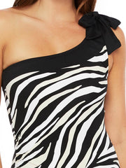 La Blanca Abstract Zebra One Shoulder One Piece Black/Cream, view 3, click to see full size