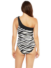 La Blanca Abstract Zebra One Shoulder One Piece Black/Cream, view 2, click to see full size