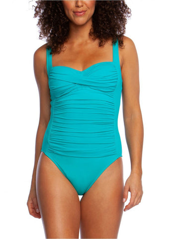 La Blanca Island Goddess Over The Shoulder Sweetheart One Piece Mint