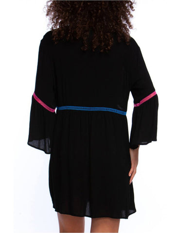 La Blanca Shirred Bell Sleeve Dress Black