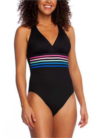 La Blanca Spectrum Multi Strap Cross-Back One Piece Black