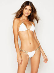 Beach Bunny Madagascar Glam Triangle Top White, view 1, click to see full size