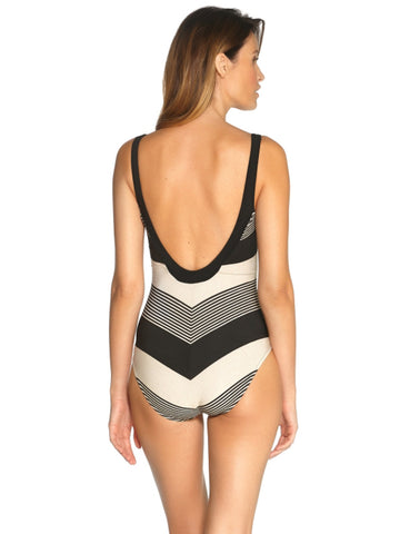 Maryan Melhorn Voyage One Piece Underwire Plunge Black Sand