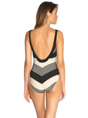 Maryan Mehlhorn Voyage Laced Underwire Plunge One Piece Black Sand