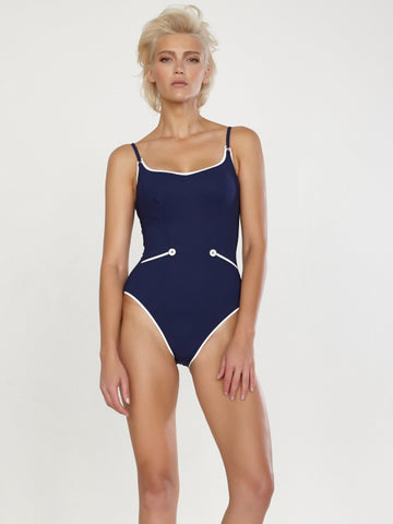 Maryan Melhorn Lounge Wire One Piece Swimsuit Navy/White