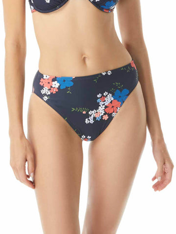 Floral Border High Waist Bottoms New Navy