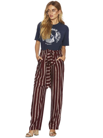 Beach Riot Moon Beam Paloma Pants With Sash Maroon