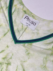 Pitusa Tie Dye V-Neck Dress Green, view 2, click to see full size