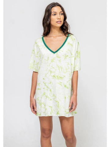 Pitusa Tie Dye V-Neck Dress Green