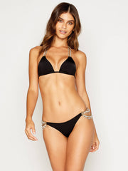 Beach Bunny Pretty In Pearls Triangle Top Black, view 1, click to see full size