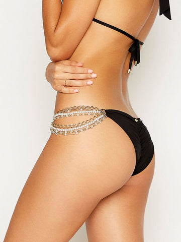 Beach Bunny Pretty In Pearls Skimpy Bottom Black