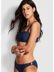 Seafolly Summer Sea Bandeau Bra Indigo, view 3, click to see full size