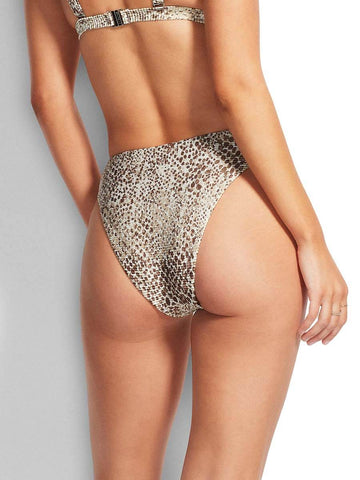 Seafolly Serpentine High Rise Bottom In Chocolate