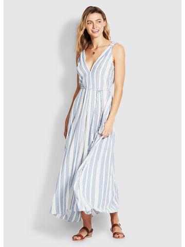 Seafolly Lurex Yarn Dye Stripe Maxi Dress Blue/Gold