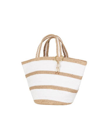 Stripe Jute Basket Natural
