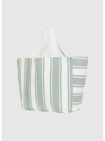 Seafolly Canvas Stripe Tote Sage