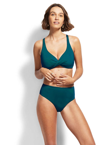 Sandpipers Wrap Front F Cup Bikini Top Peacock Blue