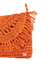 Seafolly Crochet Clutch In Tangerine, view 3, click to see full size