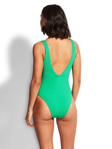 Sea Dive Deep V Neck Maillot In Jade