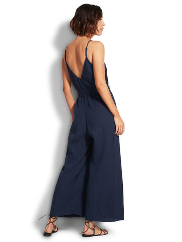 Seafolly Double Cloth Jumpsuit In Indigo