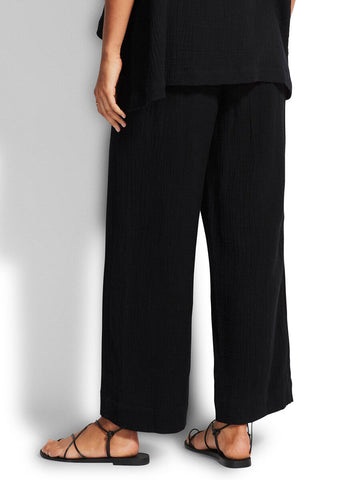 Seafolly Double Cloth Shirring Pant In Black