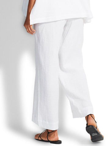 Seafolly Double Cloth Shirring Pant In White