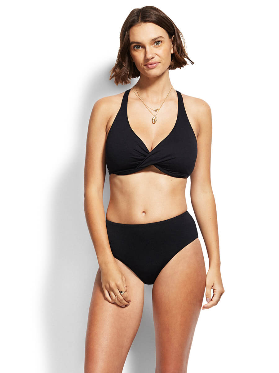 Seafolly High Waist Retro Bikini Bottoms Black