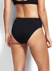 Seafolly High Waist Retro Bikini Bottoms Black, view 2, click to see full size