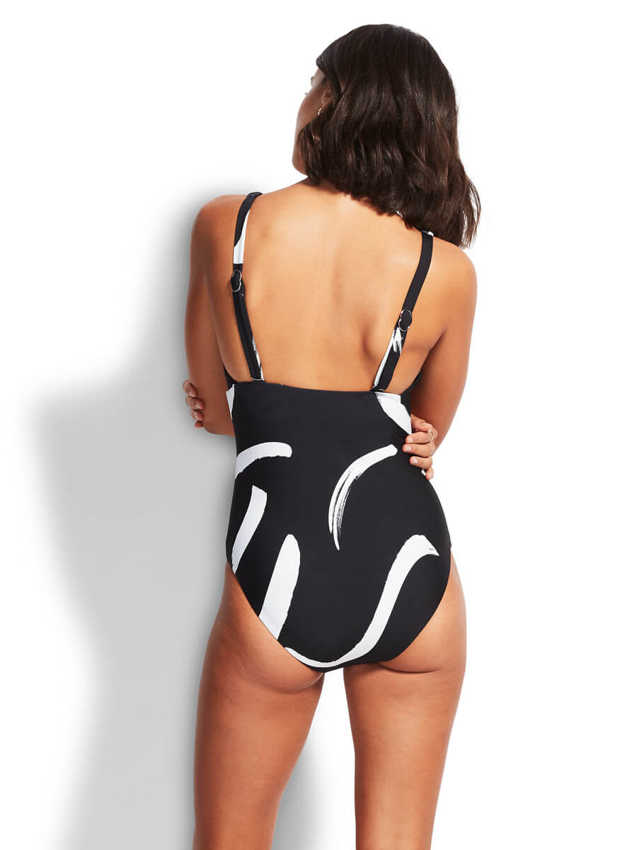 Seafolly New Wave Maillot In Black