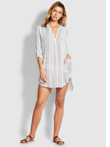 Seafolly Mona Stripe Cover up Black/White