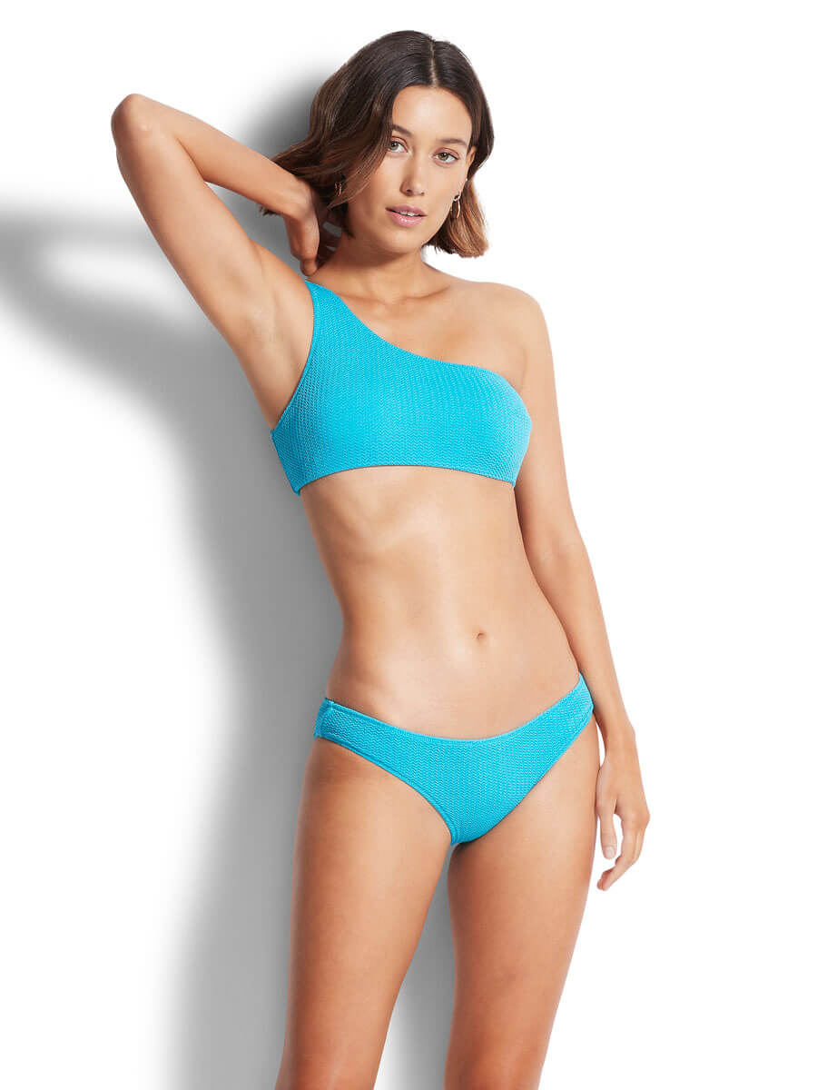 Seafolly Sea Dive One Shoulder Bandeau In Blue Grass