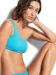 Seafolly Sea Dive One Shoulder Bandeau In Blue Grass, view 2, click to see full size
