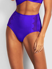 Seafolly Petal Edge High Waist Bottom Reflex Blue, view 1, click to see full size
