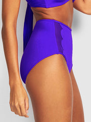 Seafolly Petal Edge High Waist Bottom Reflex Blue, view 3, click to see full size