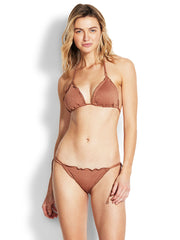 Seafolly Stardust Brazilian Tie Side Bronze, view 4, click to see full size