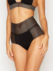 Beach Bunny Sheer Addiction High Waist Bottom Black, view 1, click to see full size