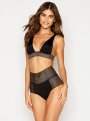 Beach Bunny Sheer Addiction High Waist Bottom Black, view 3, click to see full size